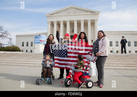 Washington DC, USA. Tuesday, December 12th, 2015.  Latino immigration reform activists in front of the US Supreme Court
