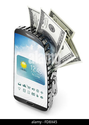 100 dollar bills coming out of the smartphone which is opened by a zipper. - Stock Photo