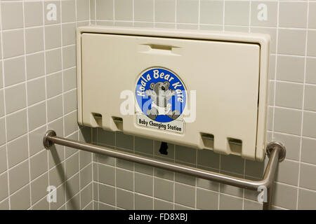 ... Folding Baby Changing Table In Public Restroom   USA   Stock Photo