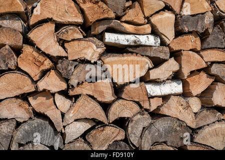 Stack of neatly arranged firewood ready for the winter - Stock Photo