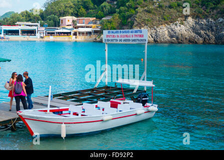 Boat, transport to caves and beachs, Main beach, Palaiokastritsa, Paleokastritsa, western Corfu,  Ionian islands, - Stock Photo