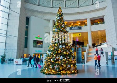 Christmas tree, aeroport, Lisbon, Portugal - Stock Photo