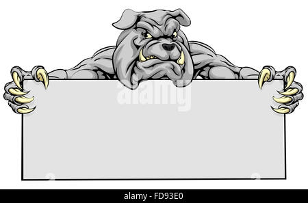 A mean looking bulldog mascot holding a sign - Stock Photo