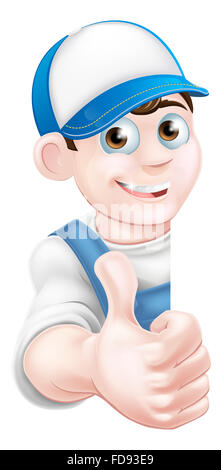 Cartoon mechanic, plumber, handyman, decorator or gardener man peeking around a sign and giving a thumbs up - Stock Photo
