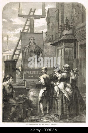 Commissioning of a pub sign in honour of the Duke of Wellington's 100th 'birthday' May 1 1869 - Stock Photo