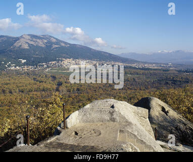 Spain. Community of Madrid. Panorama of San Lorenzo de El Escorial and the Monastery of El Escorial from the Chair - Stock Photo
