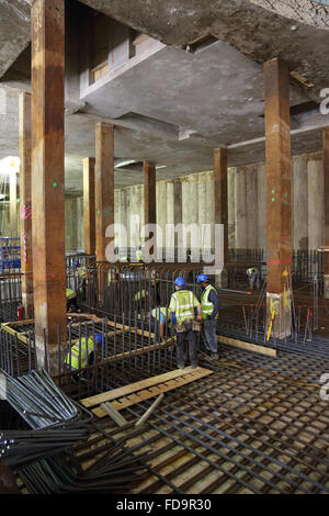 Construction of a reinforced concrete basement floor slab on a large, commercial development in central London, - Stock Photo