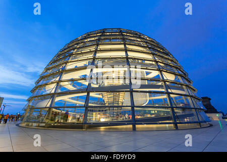 Europe, Germany, Berlin, Norman Foster's Dome of the Reichstag Building - Stock Photo