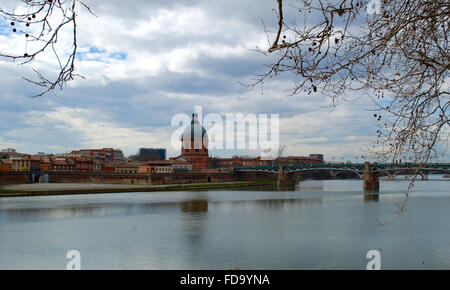 View to the Chapel of Saint-Joseph and bridge of Saint Pierre - Stock Photo