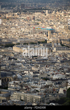 Aerial view, rooftops of the 4th arrondissement in Paris including Ile de la Cite and Centre Georges Pompidou (Pompidou - Stock Photo