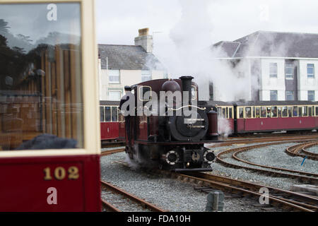 One of the famous Ffestiniog Railway Double Fairlie engines runs round its train at Porthmadog - Stock Photo