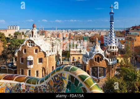 Barcelona skyline from Park Guell - Stock Photo