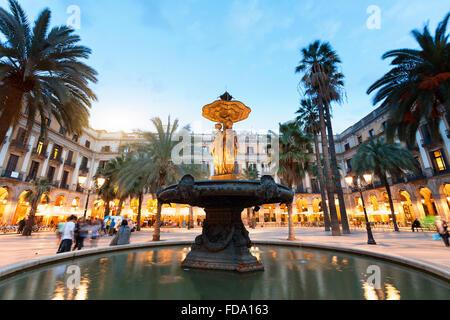 Barcelona, Placa Reial at Dusk - Stock Photo