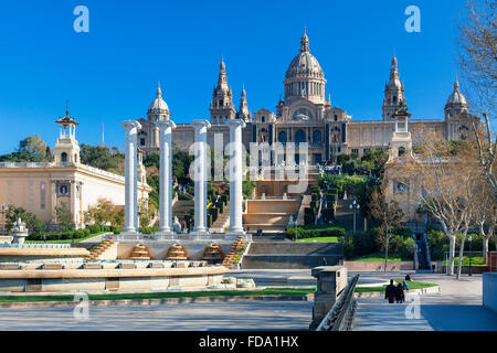 Spain, Catalonia, Barcelona, Montjuic, Catalonia National Museum of Art (MNAC), National Palace (Palau Nacional) - Stock Photo