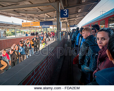 The refugees arrived in Berlin,Germany on 10th October 2015. - Stock Photo