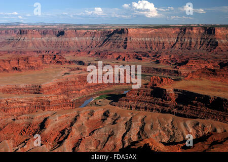 View from Dead Horse Point Overlook to erosion-scenery and the Colorado River, evening light, Dead Horse Point State - Stock Photo