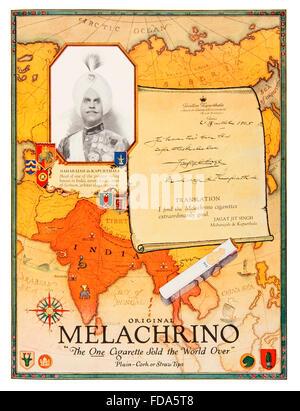 Melachrino cigarettes advertisement from 1926; International; Studio; Magazine - Stock Photo