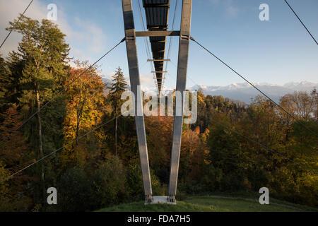 Sigriswil, Switzerland, Haengebruecke over the rubber Canyon - Stock Photo