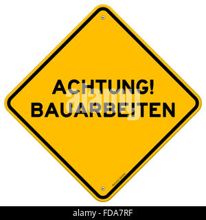 Yellow and black achtung bauarbeiten sign - Stock Photo