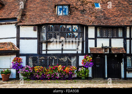 A half-timbered house in the pretty village of Biddenden in Kent. - Stock Photo