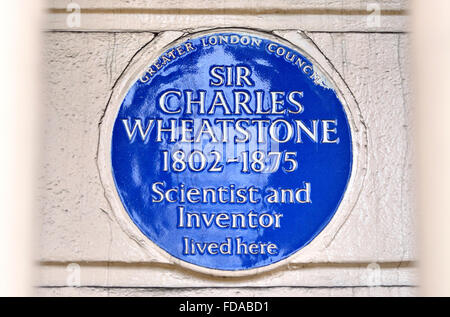 London, England, UK. Commemorative Blue Plaque: 'Sir Charles Wheatstone (1802-1875), scientist and inventor, lived - Stock Photo