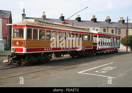 Manx Electric Railway carriages at Ramsey, Isle of Man - Stock Photo