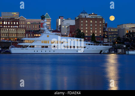 Full moon rising over Victoria skyline and Inner harbor-Victoria, British Columbia, Canada. Note-Digital moon added. - Stock Photo