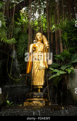 Buddha statue at Wat Saket Ratcha Wora Maha Wihan, Temple of the Golden Mount, Bangkok, Thailand - Stock Photo