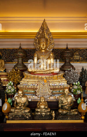 Buddha at Wat Saket Ratcha Wora Maha Wihan, Temple of the Golden Mount, Bangkok, Thailand - Stock Photo