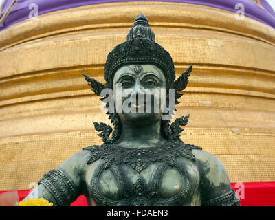 Buddha statue at Wat Saket Ratcha Wora Maha Wihan, Temple of the Golden Mount, Bangkok, Thailand - Stock Photo