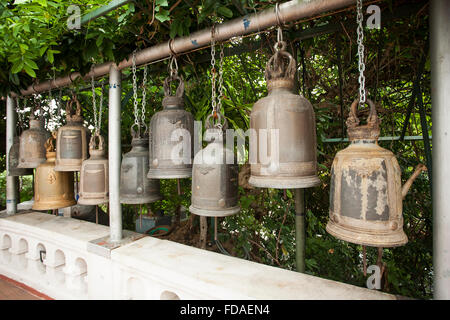 Buddhist prayer bells at Wat Saket Ratcha Wora Maha Wihan, Temple of the Golden Mount, Bangkok, Thailand - Stock Photo