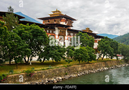 Punakha Dzong monastery fortress, Punakha District, Bhutan - Stock Photo