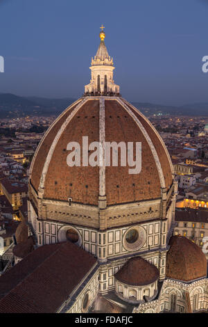 Florence Cathedral, dome with historic centre at dusk, Florence, Tuscany, Italy - Stock Photo