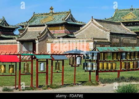 Prayer wheels, three main temples, Erdene Zuu Monastery, Kharkhorin, UNESCO World Heritage Site Orkhon Valley - Stock Photo