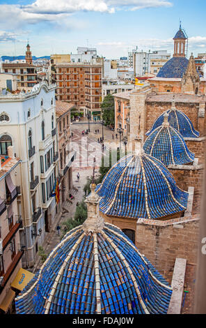 The Cathedral and Old town rooftops seen from Miguelete Bell Tower of Valencia Cathedral. - Stock Photo