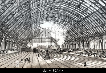 St Pancras railway station, a central London railway terminus located on Euston Road in the London Borough of Camden, - Stock Photo