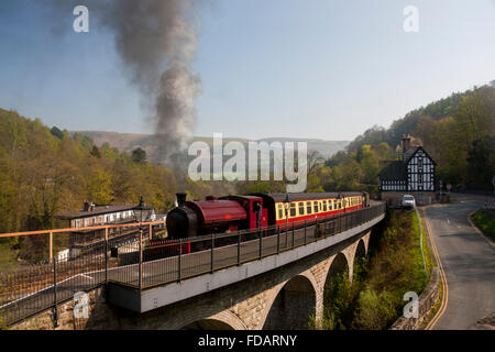 Llangollen Steam Railway Locomotive 'Jessie' at Berwyn station with River Dee in background Denbighshire North East - Stock Photo