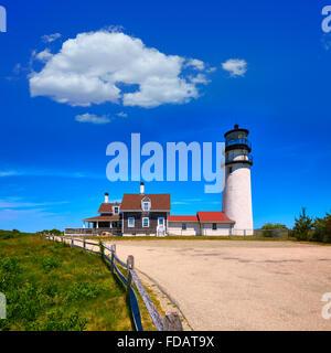 Cape Cod Truro lighthouse in Massachusetts USA - Stock Photo