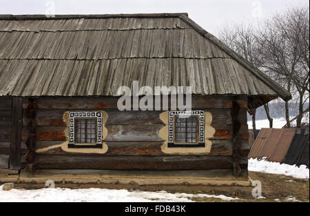 Old traditional rural house in Ukraine - Stock Photo