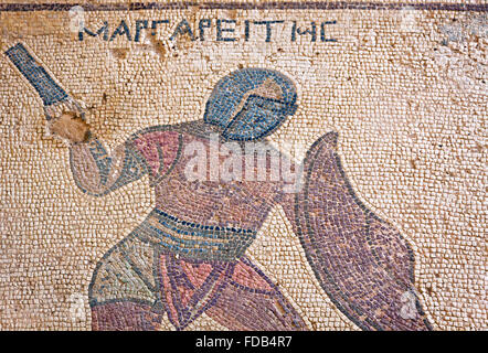 Close-up fragment of ancient mosaic in Kourion, Cyprus - Stock Photo