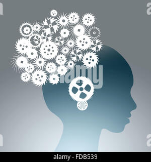 Silhouette of male head with gears in brain - Stock Photo