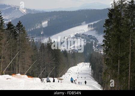Track of famous Bukovel ski resort, Carpathian mountains, Ukraine - Stock Photo
