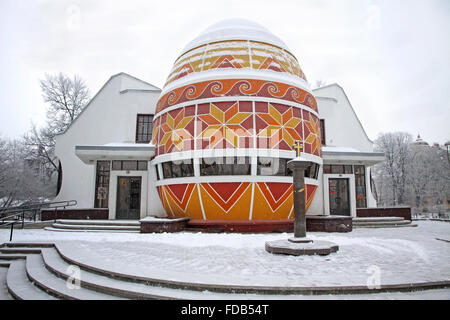 The monument of Easter egg (Pysanka) in Kolomyia, Ukraine - Stock Photo