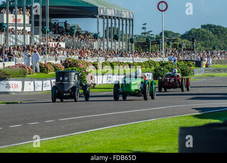 The Goodwood Revival is a festival held at Goodwood Circuit for the types of road race cars from its 40s-60s heydays. - Stock Photo