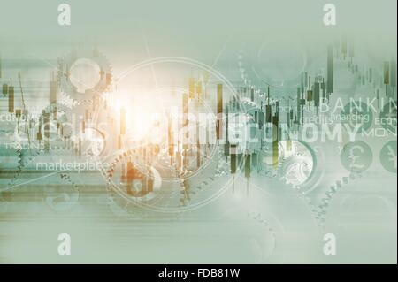 Global Economy Abstract Background. World Economy Mechanism Conceptual Background Illustration with Trading Stats, - Stock Photo