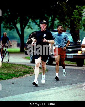 Washington, DC., USA, 9th September, 1993 President William Clinton jogging around the Lincoln Memorial  Credit: - Stock Photo