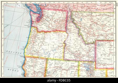 Washington Oregon Idaho Montana Map Labelled Black - Montana map usa