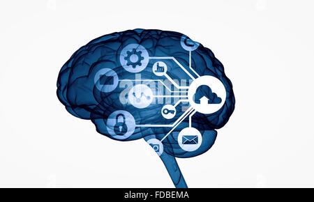 Concept of human intelligence with human brain on white digital background - Stock Photo