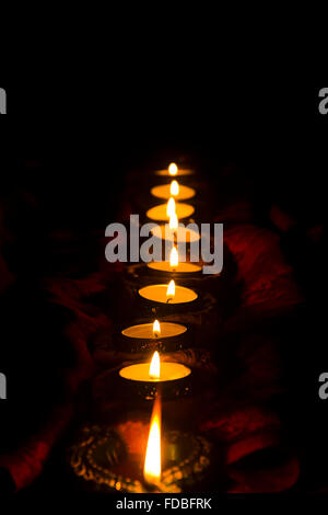 Indian Festival Diwali diya Queues Nobody - Stock Photo