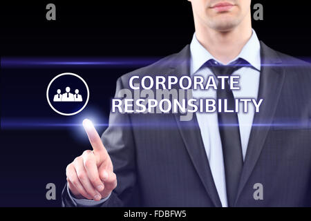 business, technology and networking concept - businessman pressing corporate responsibility button on virtual screens - Stock Photo